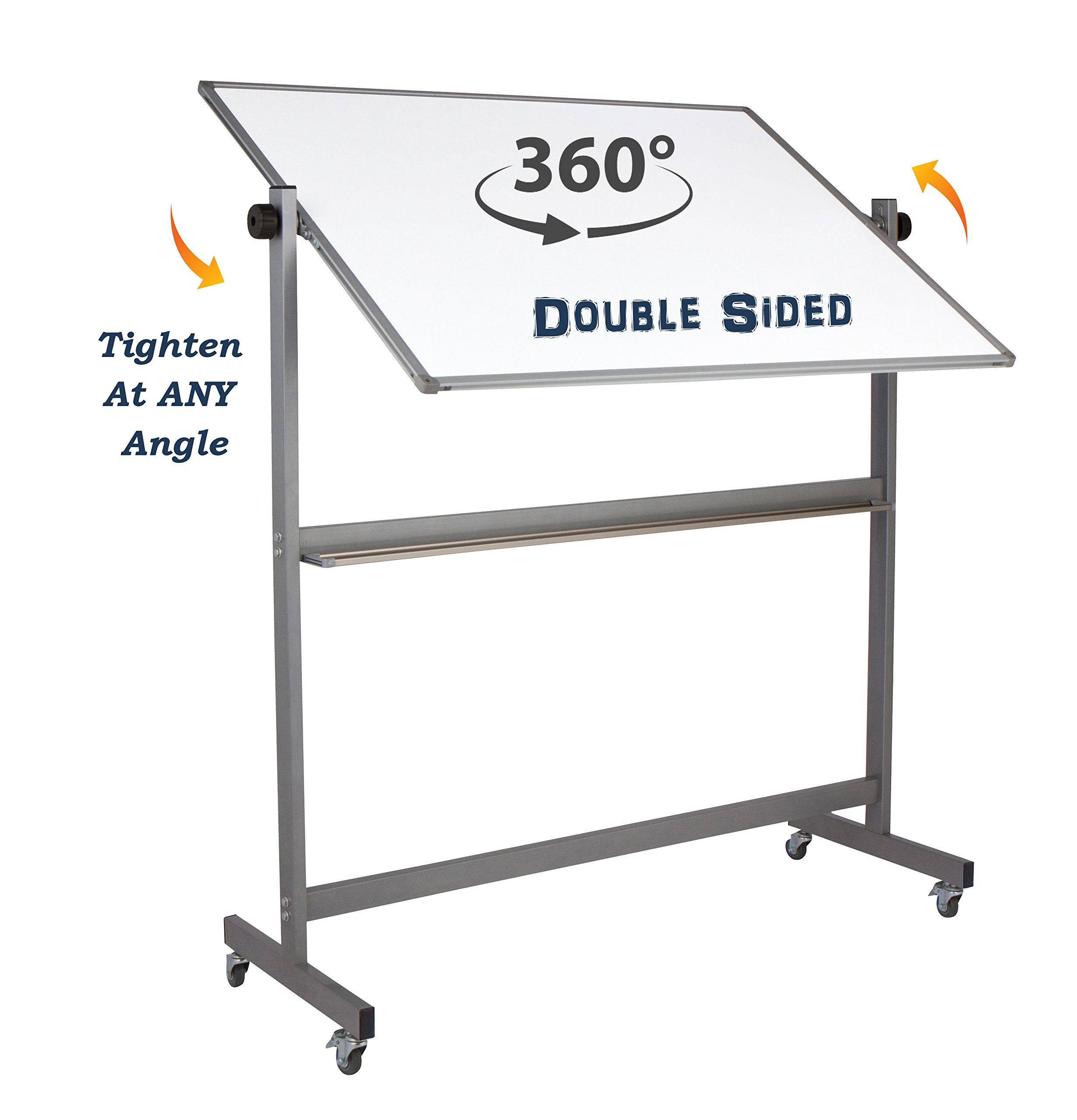 "Magnetic Mobile Whiteboard Large On Stand Double Sided Flip Over Dry Erase Reversible Portable Home Office Classroom Board 36 x 48"" Inch with 4 Markers 12 Magnets Eraser and Ruler Easel Aluminum Frame by Dapper Display (Image #3)"
