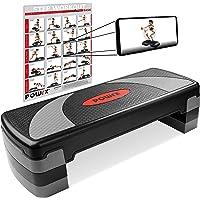 POWRX Stepper XL Premium extra groot incl. workout I 3-staps in hoogte verstelbaar I Home-Stepper Stepbench Stepbankje…