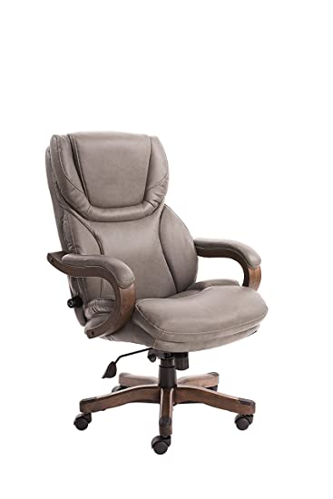 Serta Big And Tall Executive Office Chair With Upgraded Wood Accents,  Mindset Gray Bonded Leather
