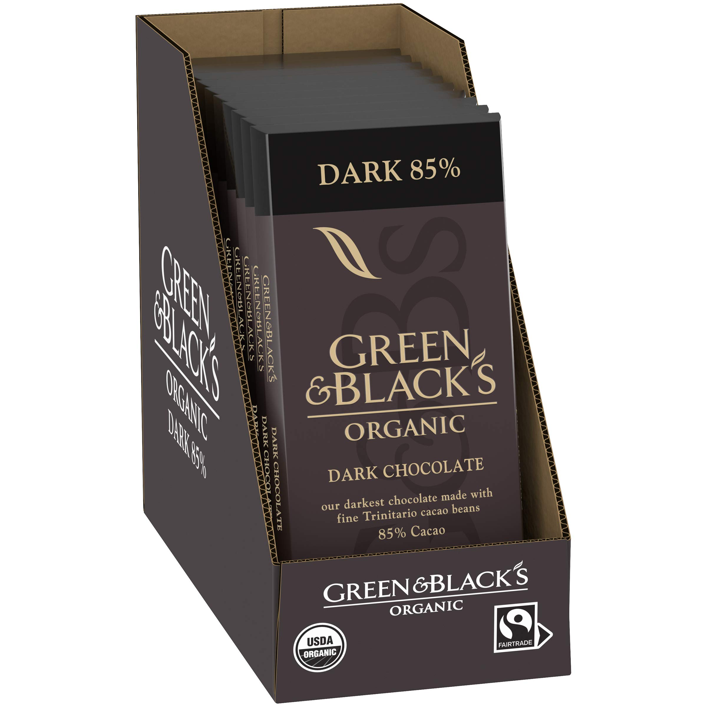 Green & Black's Organic Chocolate, Dark Chocolate 85% Cacao, 10Count by Green & Black's
