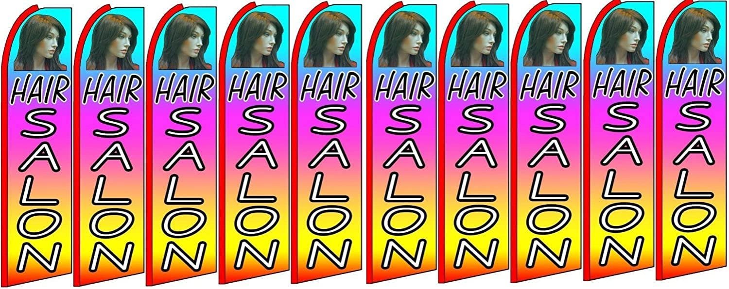 Pack of 10 Hardware not Included Hair Salon King Swooper Feather Flag Sign