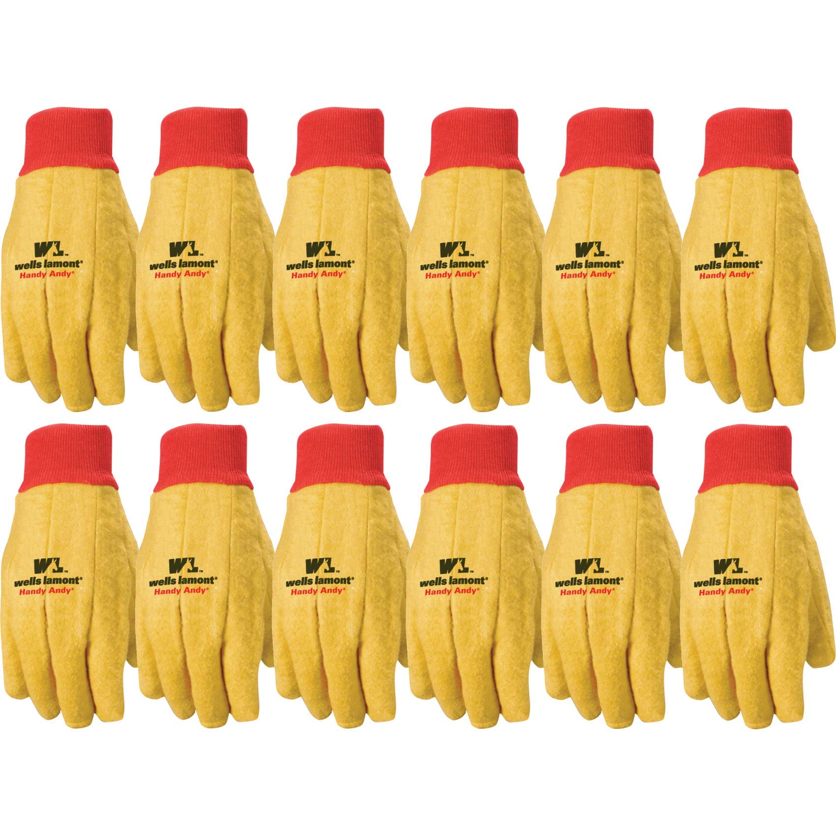 Wells Lamont Polyester and Cotton Chore Gloves, Standard Weight, Large, 12-pack (412) by Wells Lamont