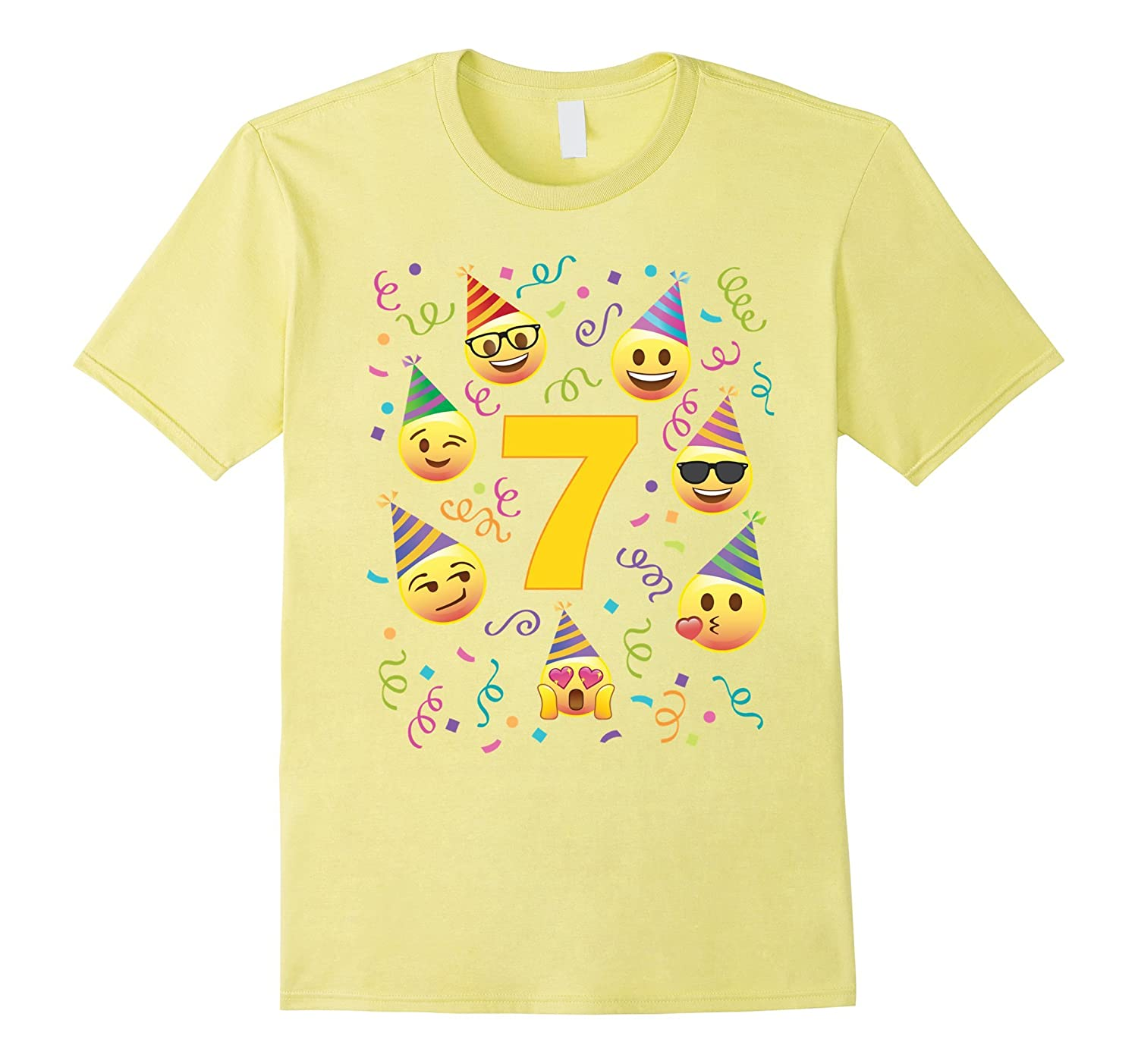 Emoji Birthday Shirt For 7 Seven Year Old Girl Boy Party Hat TH