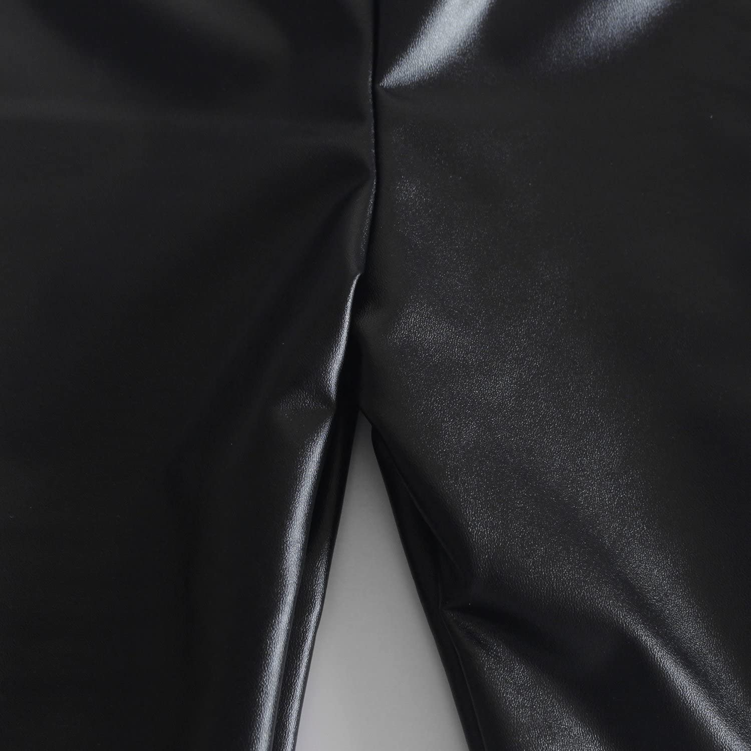 Messy Code Baby Girls Pants Faux Leather Leggings for Toddlers