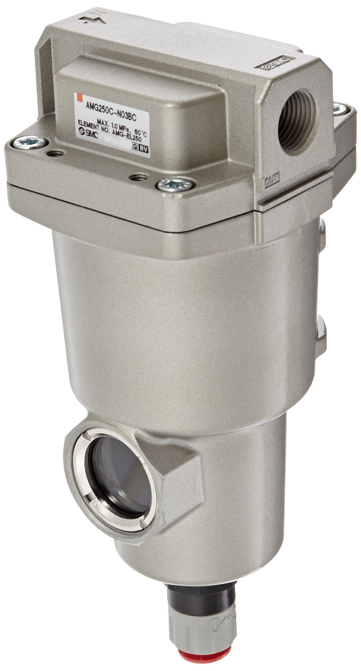 SMC AMG250C-N03BC Water Separator, N.C. Auto Drain, 750 L/min, 3/8'' NPT, Mounting Bracket by SMC