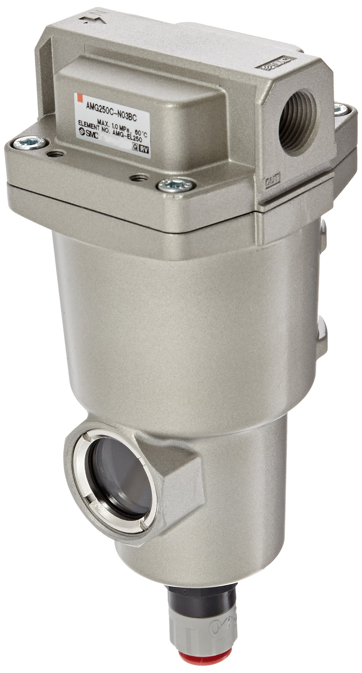 SMC AMG250C-N03BC Water Separator, N.C. Auto Drain, 750 L/min, 3/8'' NPT, Mounting Bracket