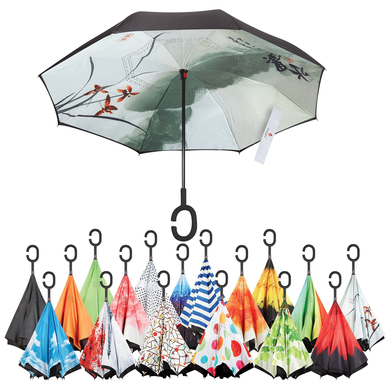 Inverted Umbrella, Best Windproof Umbrella, Cars Reverse Umbrella, Beautiful Rain Umbrella with UV Protection, Upside Down Umbrella With C-Shaped Handle and Carrying Bag (Chinese ink painting)