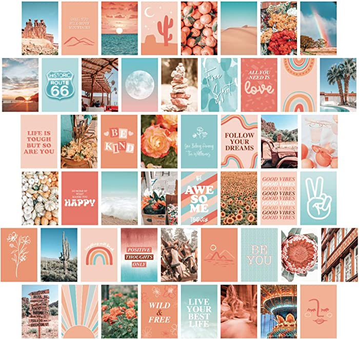 Artivo Peach Teal Aesthetic Wall Collage Kit, 50 Set 4x6 inch, VSCO Girls Bedroom Decor, Orange Boho Dorm Wall Decor, Photo Collection