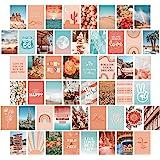 Artivo Peach Teal Aesthetic Wall Collage Kit, 50 Set 4x6 inch, VSCO Girls Bedroom Decor, Orange Boho Dorm Wall Decor…