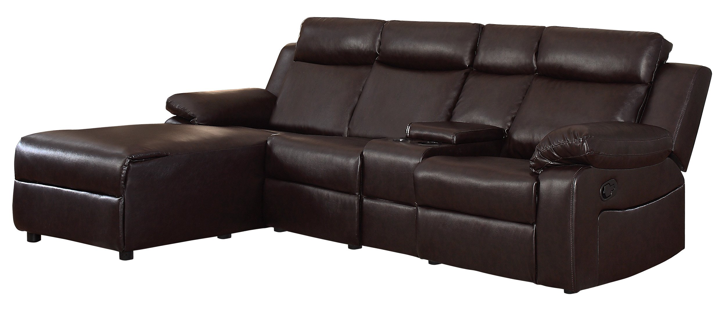 Details about Brown Large Recliner Sectional Sofa Couch Chaise Lounge with  Console Small Space