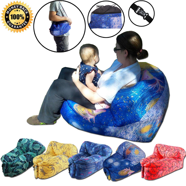 Inflatable Lounger Chair withポータブルCarryバッグ。Inflatable Lounger Chair Is Perfect屋内または屋外のの、完璧、旅行、キャンプ、ハイキング、プールビーチパーティ B074VXLD75 星空 星空