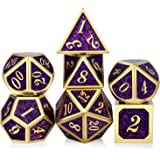 DNDND Glitter Purple Metal Dice Set, Solid Polyhedral DND Metallic Dice with Free Metal Case for Role Polying Game Dungeons and Dragons