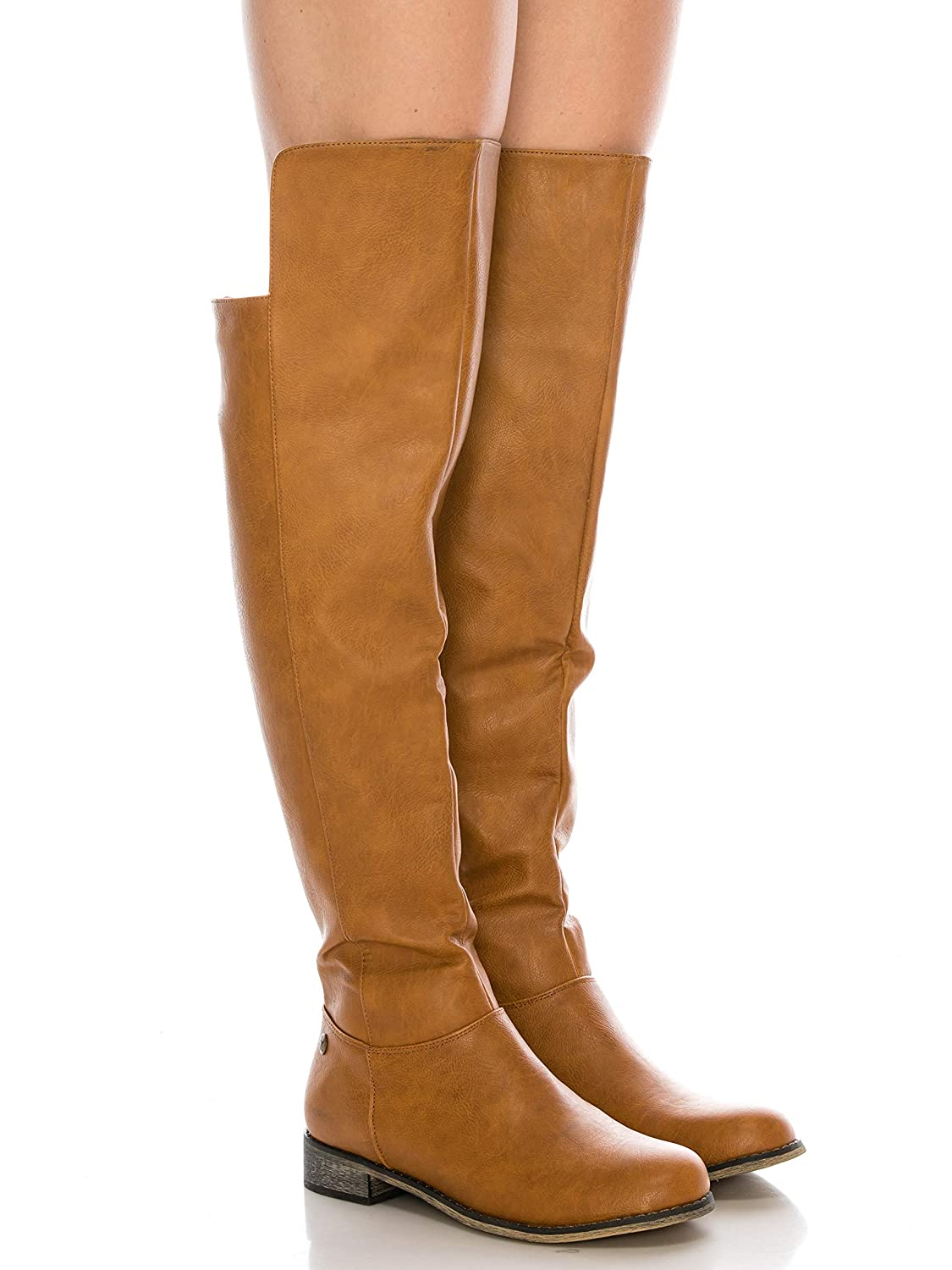 provide large selection of sophisticated technologies where to buy CALICO KIKI Women's Knee High Boots – Faux Leather Over The Knee Boots with  Side Zip and Low Heel