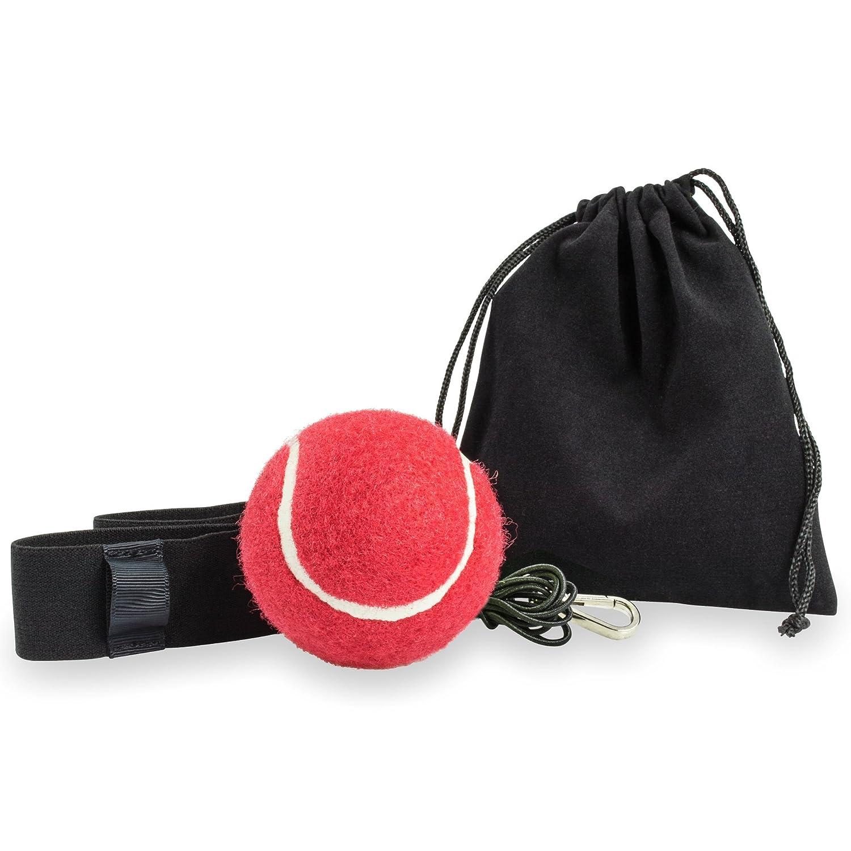 Balle de combat premium pour un entraînement de boxe parfait avec sac de transport-Finition de haute Qualité-entraînement optimal pour sport de combat-Appareil d'entraînement pratique pour la maison, en studio ou à l'extérieur Rot LionFit