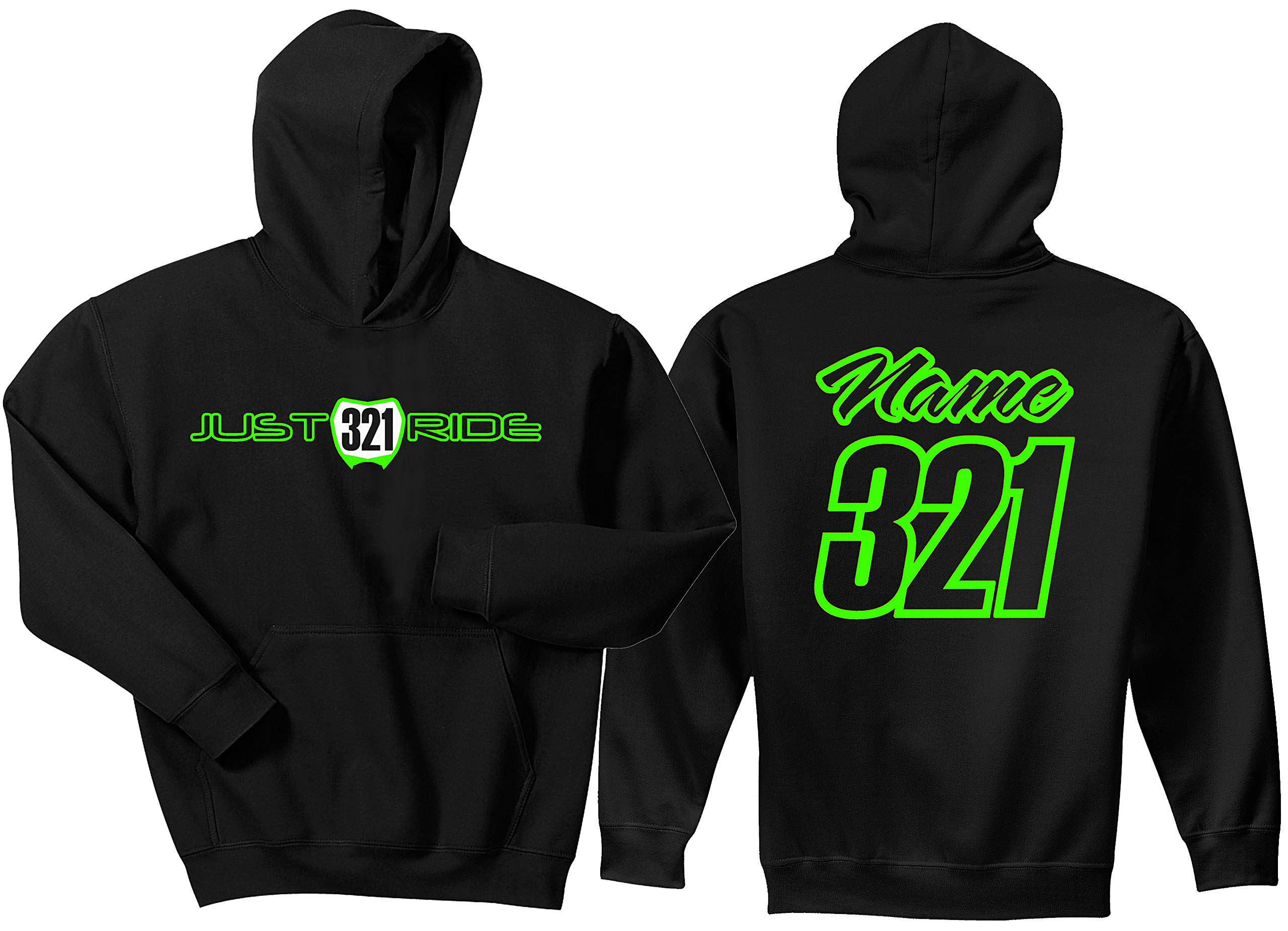 JUST RIDE Youth Hoodie Sweat Shirt Motocross Number Plate Custom Personalized (YS (6/8), Lime Green)