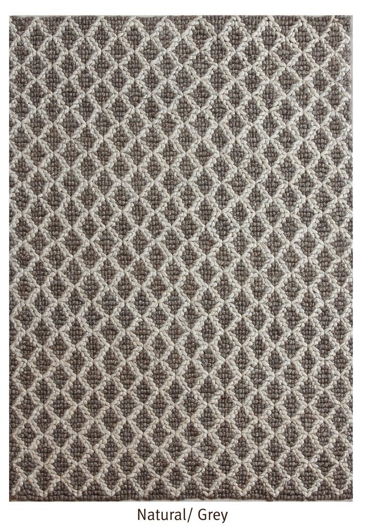 "The Rug Republic ManoTejido Natural/ Gris NZ Fieltro Lana Duvel Alfombra (7' 6"" x 5' 3"")"