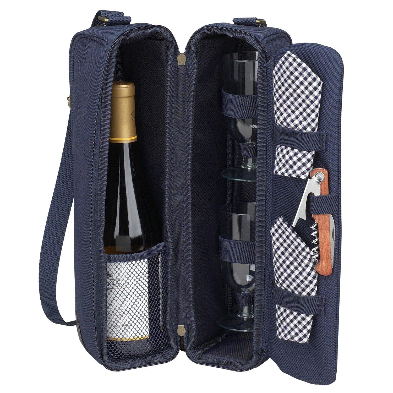 Picnic at Ascot 133-B-Klassiker Sunset Deluxe Wein Tr-ger f-r 2 Blau Gingham