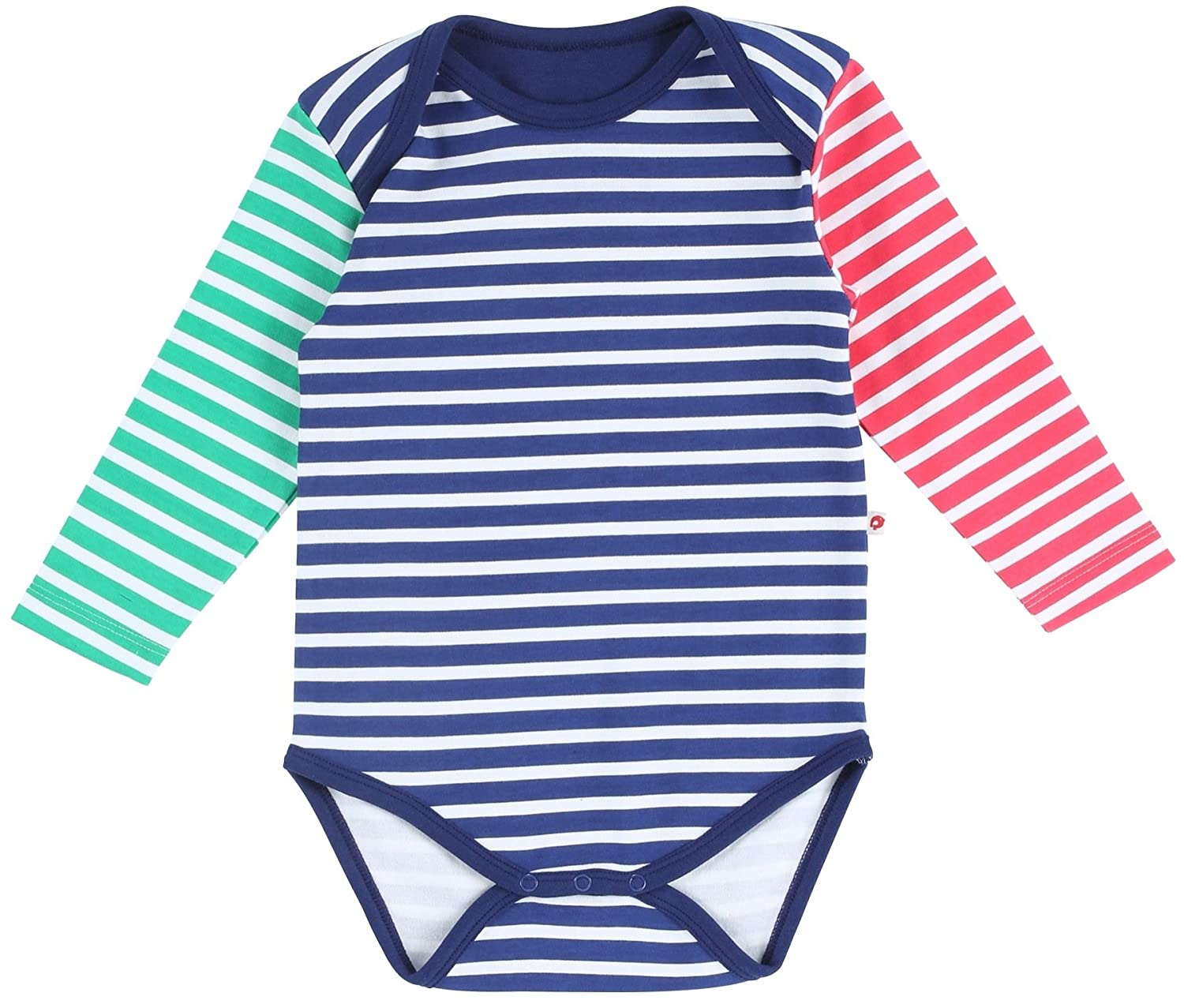 Piccalilly in cotone organico blu bimbo Primary Stripe Baby Body