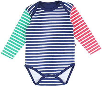 142896ae3aa2 Piccalilly Organic Cotton Blue Baby Boys Primary Stripe Baby Body ...