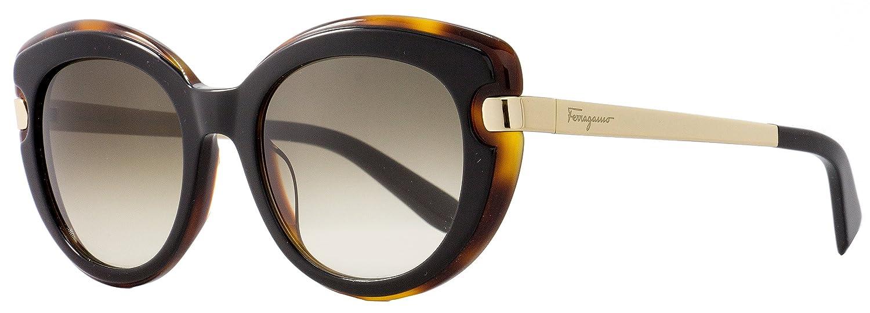 5bdf83b0dfab Amazon.com: Salvatore Ferragamo Cateye Sunglasses SF813S 006 Black/Havana/Gold  813: Clothing