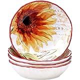 "Certified International Paris Sunflower Soup/Pasta Bowl (Set of 4), 8"", Multicolor"
