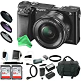 Sony Alpha a6000 Mirrorless Camera w/ 16-50mm Lens & Two 64GB SD Card DigitalAndMore Deluxe Bundle