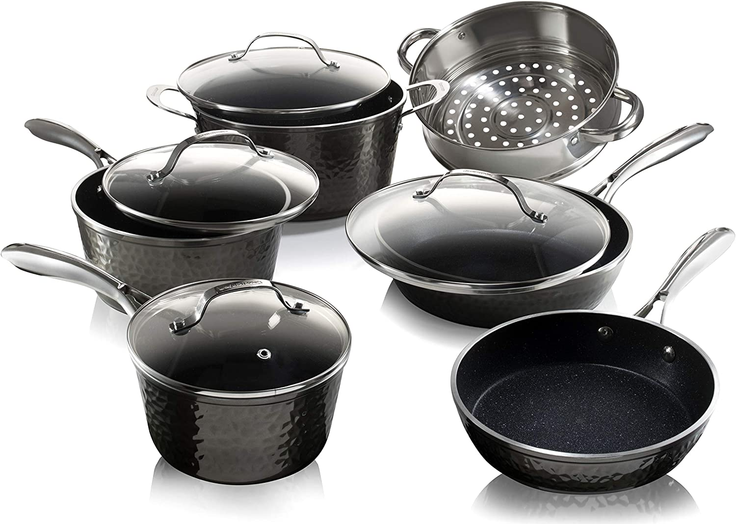 Granitestone Diamond 10 Piece Nonstick Pots and Pans Set with Platinum Hammered Exterior, Mineral & Diamond Infused Ultra Nonstick, Dishwasher Safe Cookware Set, Induction Capable, As Seen on TV