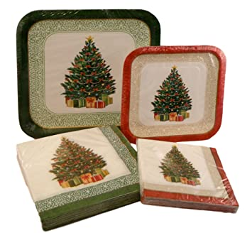 Christmas Holiday Paper Plates and Napkins Party Pack (Classic Christmas Tree)  sc 1 st  Amazon.com & Amazon.com: Christmas Holiday Paper Plates and Napkins Party Pack ...