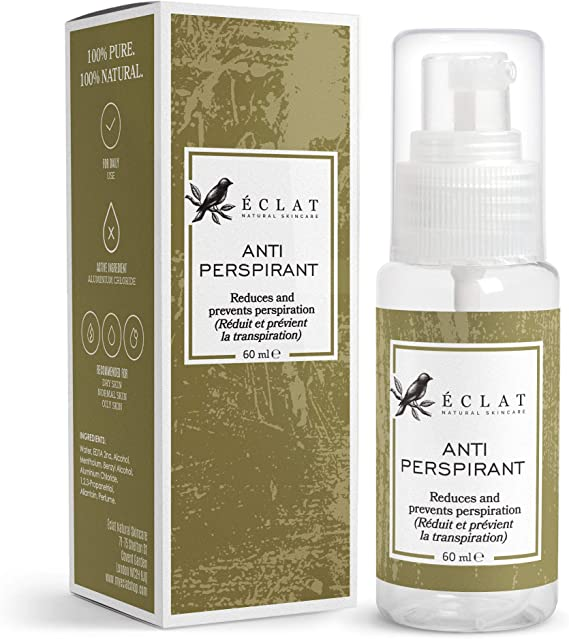Antiperspirant by Eclat - Maximum Strength Peppermint Anti-Perspirant Spray - Eliminates Excessive Sweating + Odours - All-Natural Formula with Comfrey Plant Extract: Amazon.es: Belleza