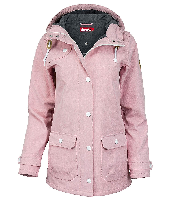 derbe Damen Softshellmantel Jacke mit Kapuze (46, rosa)