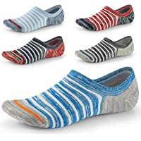 No Show Socks for Men Non Slip Cotton Low Cut Invisible Liners Ankle Socks 5 Pairs