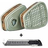 3M Filtro 6055 A2 para Mascarillas / Filtros de Partículas para Gases y Vapores (2 Unidades / 1 Pares) + intervisio Cúter con Mango de Plástico 18mm - Bundle