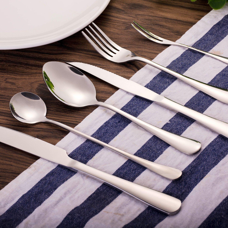 hoohii - Juego de cubiertos de acero inoxidable cubiertos Set Espejo Pulido, incluye cuchillo tenedor cuchara 7pcs: Amazon.es: Hogar