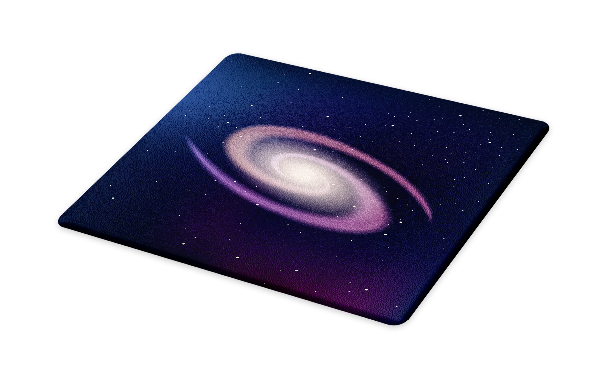 Lunarable Nebula Cutting Board, Solar System with Star in Middle Spiral Composition Expanding Universe, Decorative Tempered Glass Cutting and Serving Board, Large Size, Dark Blue Pale Pink