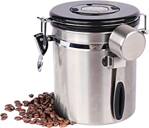 Houseables Airtight Coffee Canister, Grounds Container, Date Tracker, 1/8 Cup Scoop, 16 Oz Vault, CO2 Valve, Stainless Steel, Espresso Bean Containers, Storage Tin, Nuts, Sugar, Flower, Kitchen, Tea