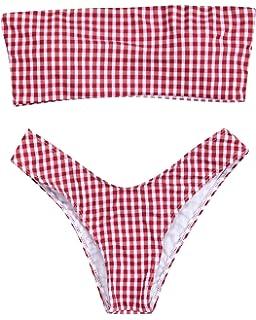 281b10eeafb7c RXRXCOCO Women Sexy Strapless Striped Print High Cut Two Piece Bandeau Bikini  Set