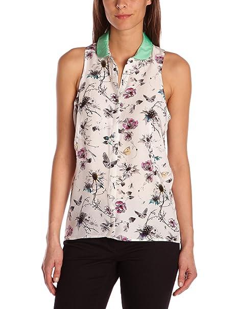 Eleven Paris Aura - Blusa con cuello con botones para mujer, color elfenbein - off