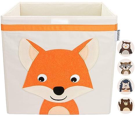 GLÜCKSWOLKE Aufbewahrungsbox Kinder I Spielzeug Kiste mit Deckel und  Griffen I Spielzeugbox (33x33x33) zur Aufbewahrung im Kallax Regal I  Waldtiere ...