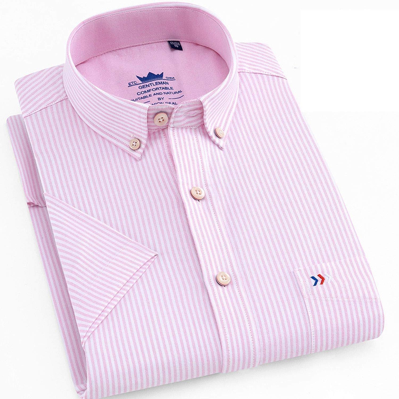Short Sleeve Dress Shirt Summer Men Plaid Casual Cotton Oxford Mens Shirts Slim Fit Male Button Down Tops