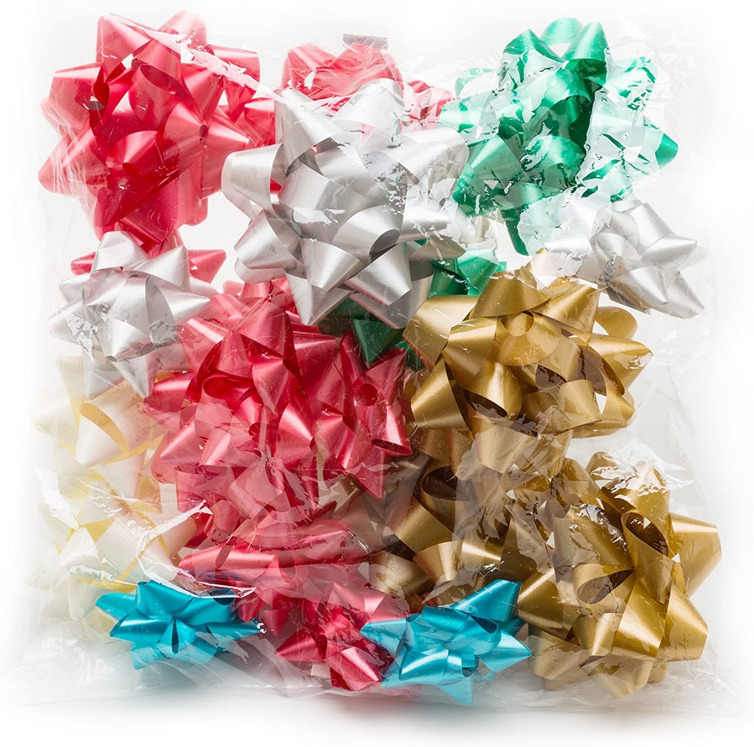 48 Piece Christmas Metallic Bows /& Ribbon Set Festive Arts /& Crafts Decoration