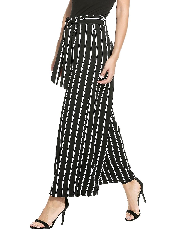 0bfb293c025d9 Zeagoo Women's Stripe Flowy Wide Leg High Waist Belted Palazzo Long Pants