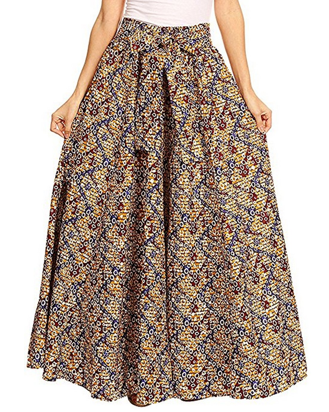 Monique Women Summer Floral Print Pleated Maxi Skirt Adjustable Waist A Line Long Skirt Dress