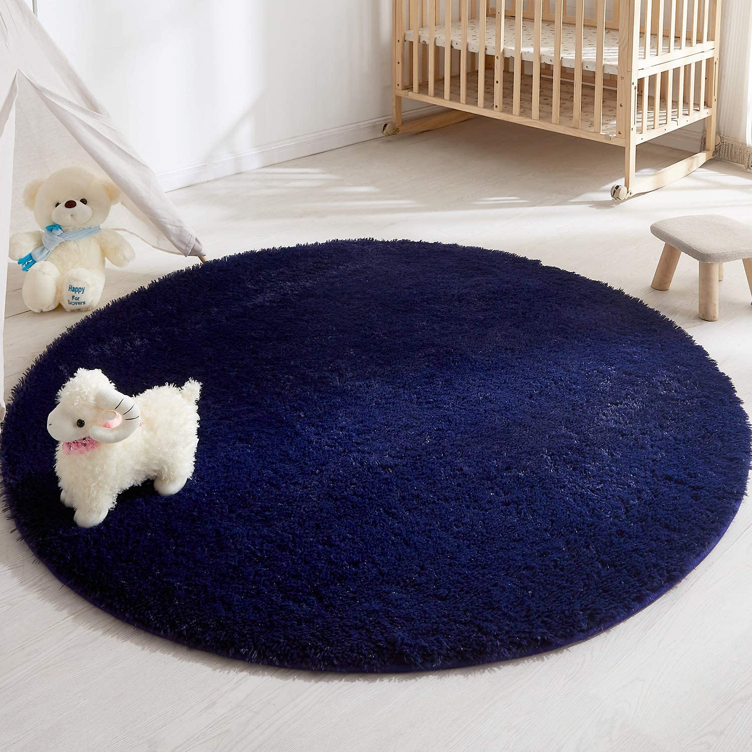 Soft Round Area Rug for Bedroom,4 Foot Navy Blue Circle Rug for Nursery Room, Fluffy Carpet for Kids Room, Shaggy Floor Mat for Living Room, Furry Area Rug for Baby, Teen Room Decor for Girls Boys