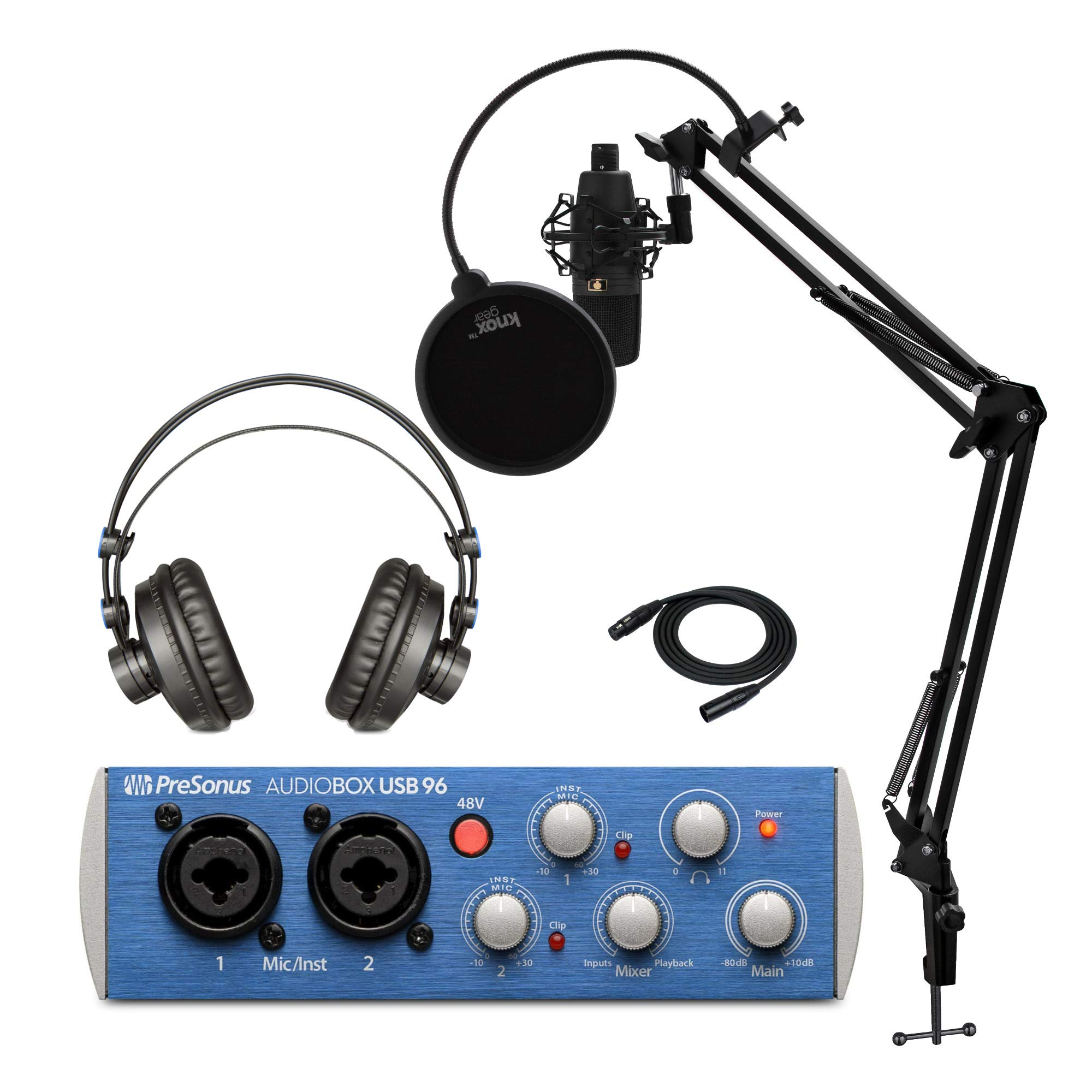 PreSonus AudioBox 96 Studio USB 2.0 Recording Interface Bundle with Headphones, Microphone, XLR Cable, Knox Studio Stand, Shock Mount and Pop Filter (4 Items)