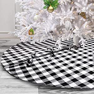 yuboo White and Black Christmas Tree Skirt, 48-Inch Buffalo Plaid Xmas Tree Checked Decorations for Farmhouse Party