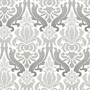 Brewster Home Fashions NuWallpaper Grey Nouveau Damask Peel and Stick Wallpaper