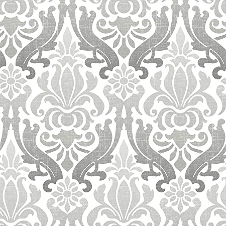 Nuwallpaper Grey Nouveau Damask Peel And Stick Wallpaper Amazon Co Uk Kitchen Home