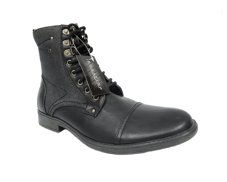 Bonafini Men's D-707 Calf High Black Zip up Combat Style Boots