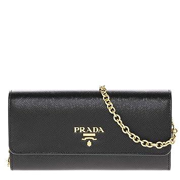 49104e1f67a Amazon.com: Prada Women's Saffiano Black Wallet Shoulder Bag with Gold  Metal Accents: TheLuxuryClub