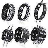 Hicarer 6 Pieces Punk Studded Bracelet Rivets Bracelet Leather Rivets Bracelet Cuff for Christmas